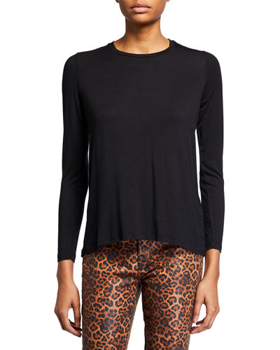 Crewneck Long-Sleeve Top with Back Pleat