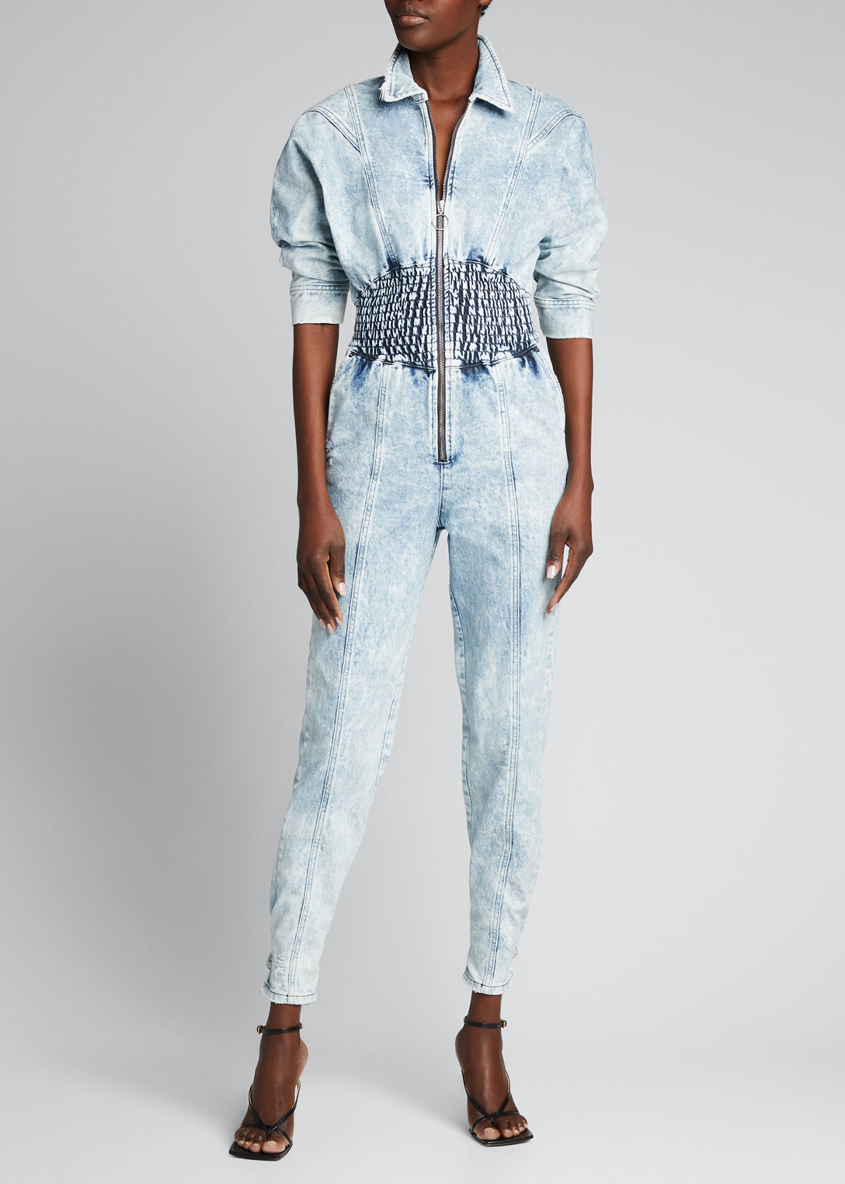 Retroféte ETI SMOCKED DENIM JUMPSUIT