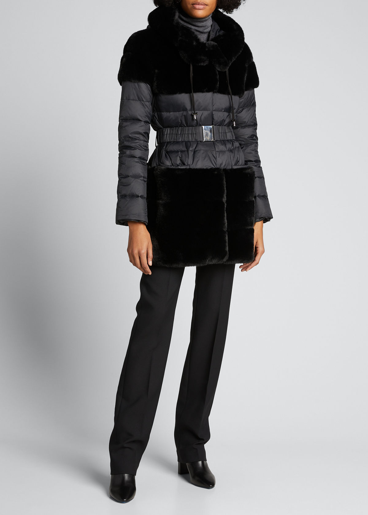 Belle Fare THE ERIKA FAUX-FUR BELTED DOWN JACKET