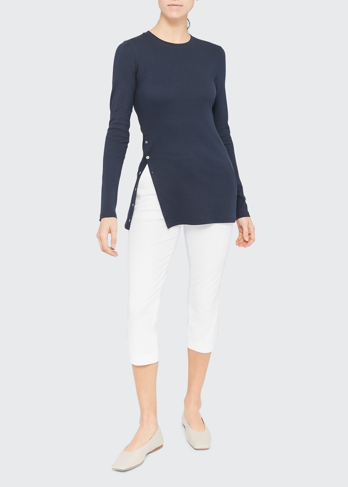 Theory Tops MOTHER-OF-PEARL BUTTON-FRONT TEE