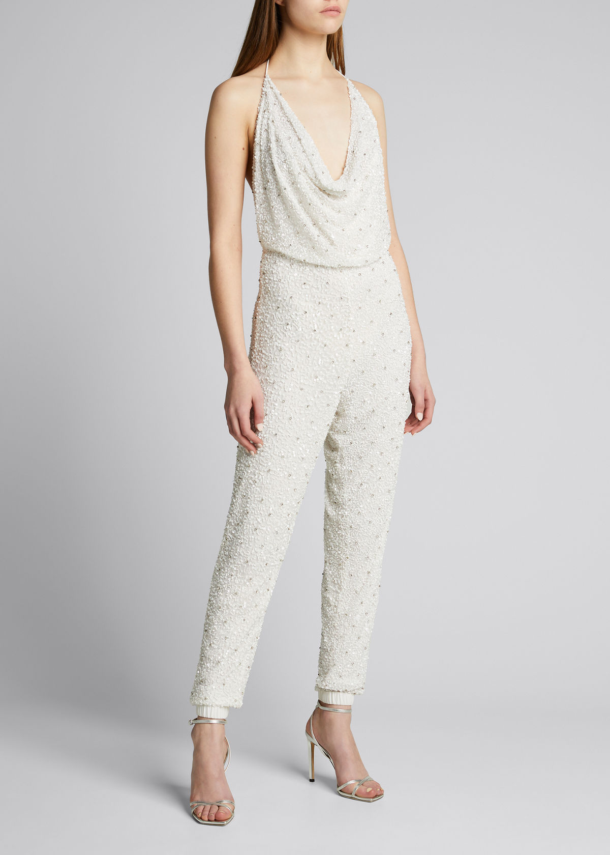 Retroféte SKYLAR SEQUINED HALTER JUMPSUIT