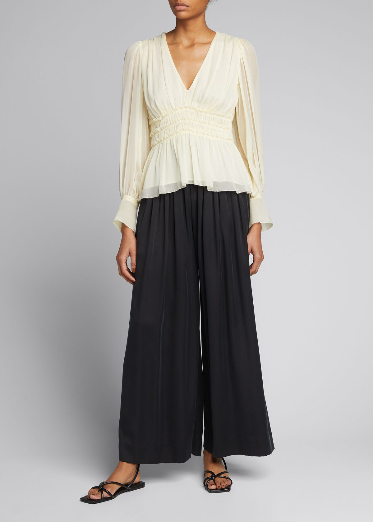 Rebecca Taylor SILK CHARMEUSE WIDE-LEG PANTS
