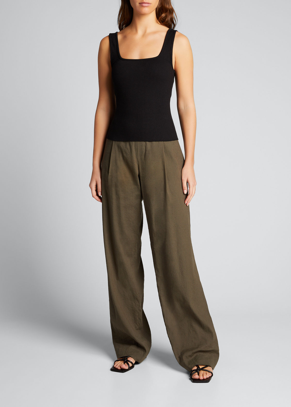 Vince Cottons RIBBED SQUARE-NECK TANK