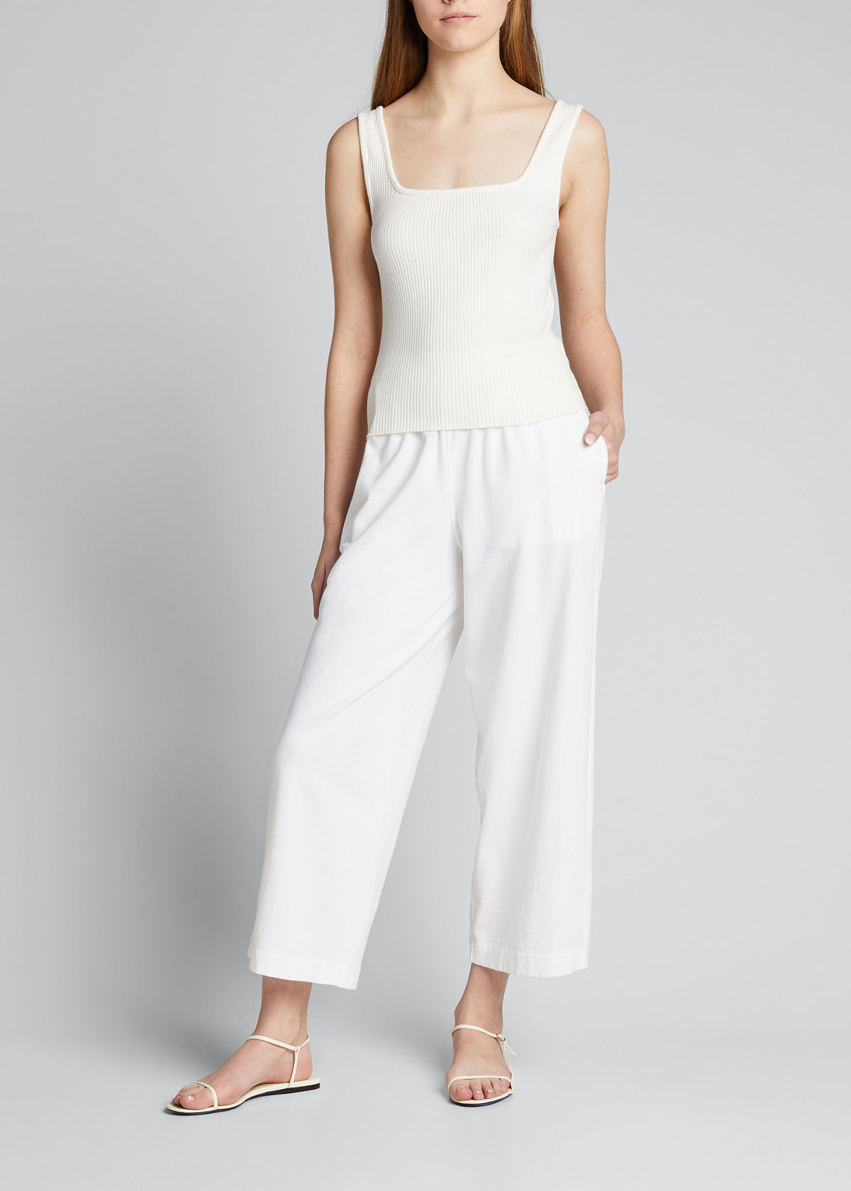 Vince Tops RIBBED SQUARE-NECK TANK