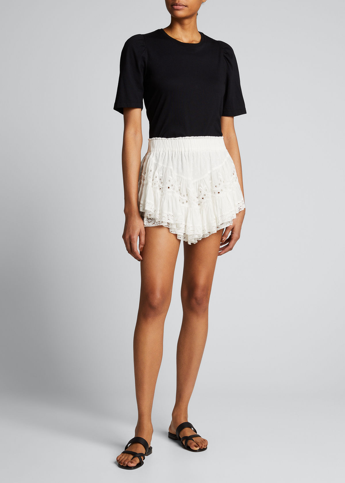 Loveshackfancy BRIELLA EMBROIDERED LACE MINI SKIRT