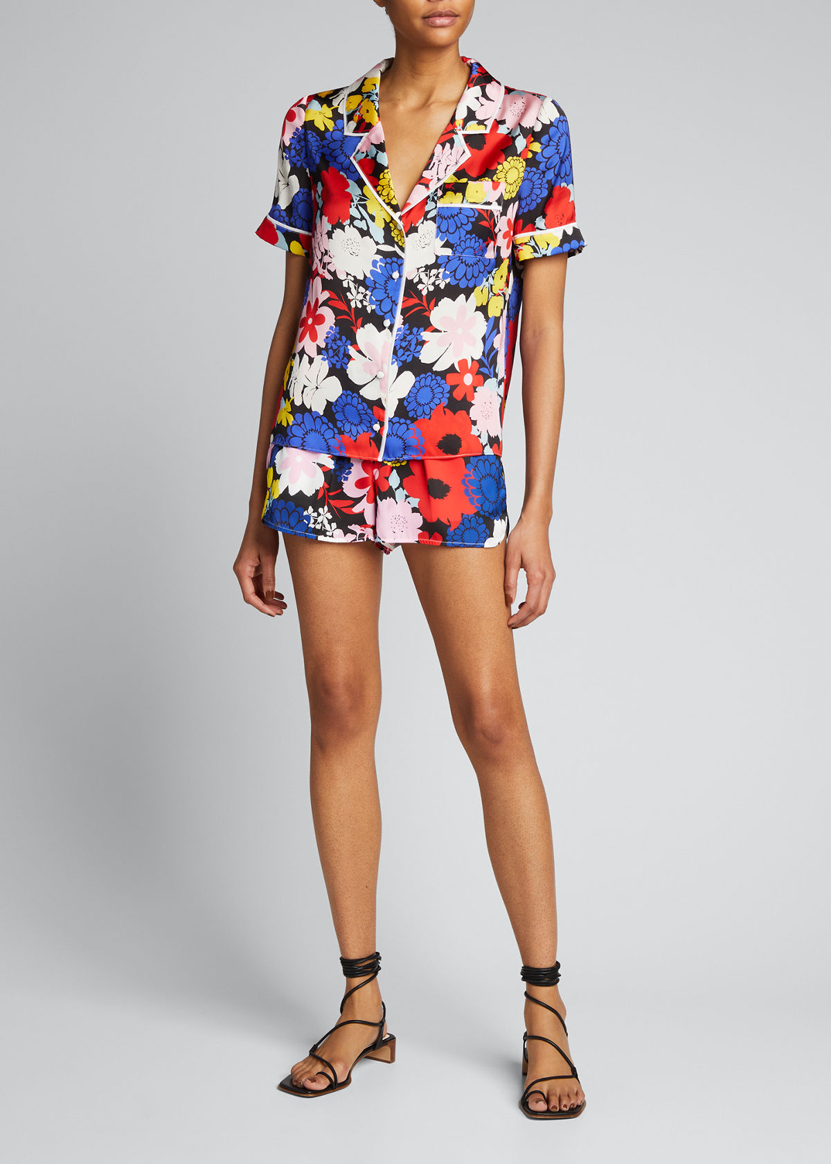 Alice And Olivia Tops RAMONA PIPED BUTTON-DOWN TOP WITH POCKET