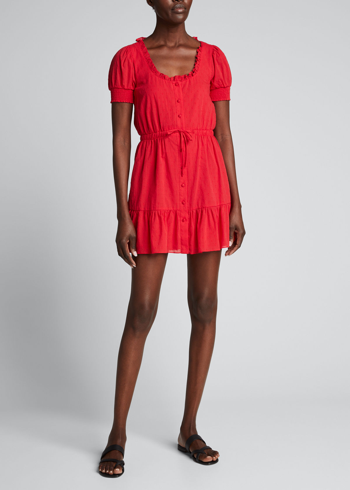 Alice And Olivia AVI BUTTON-DOWN RUCHED-WAIST SHORT DRESS