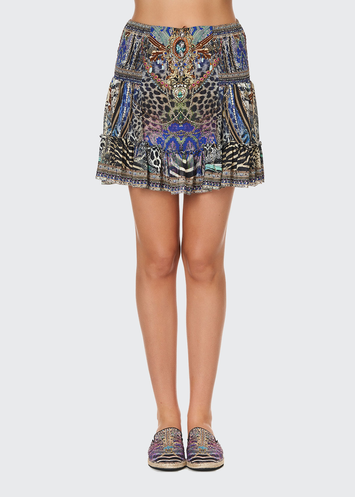 Camilla PRINTED MINI FRILL SKIRT W/ BUTTONS
