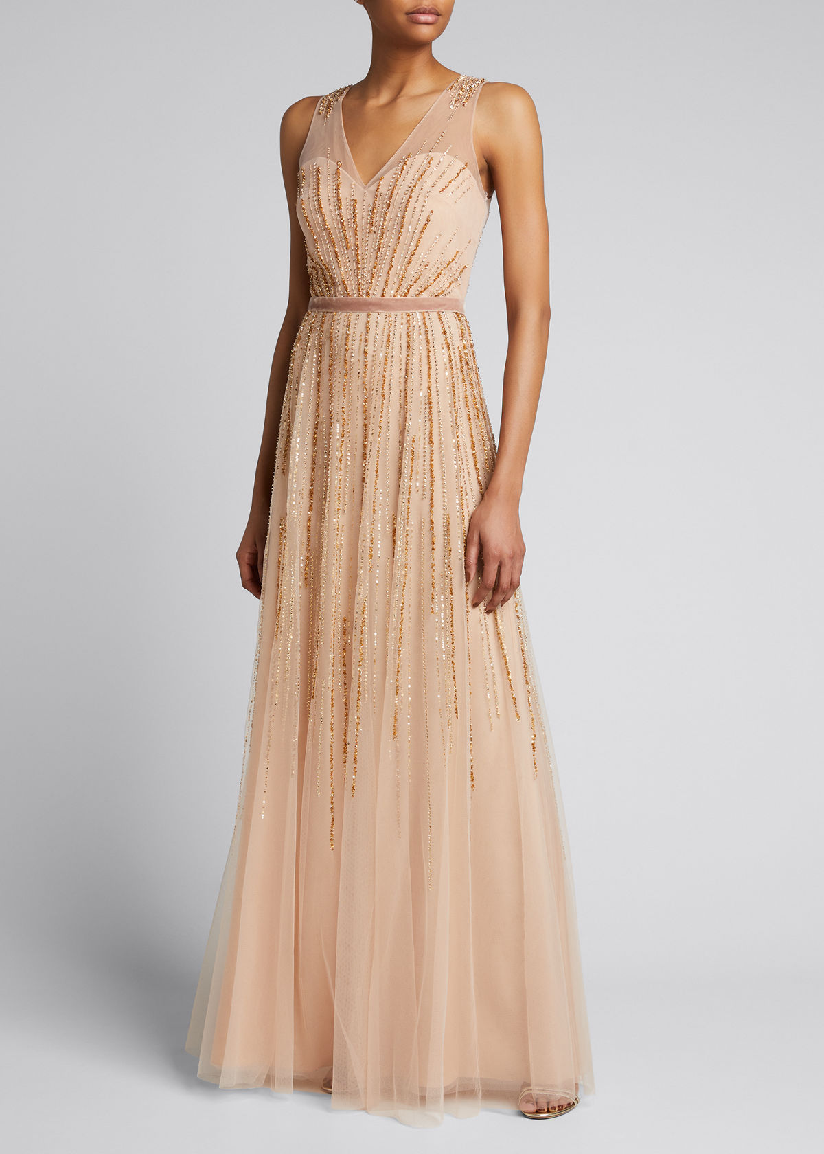 Marchesa Notte V-NECK SLEEVELESS BEADED TULLE A-LINE GOWN