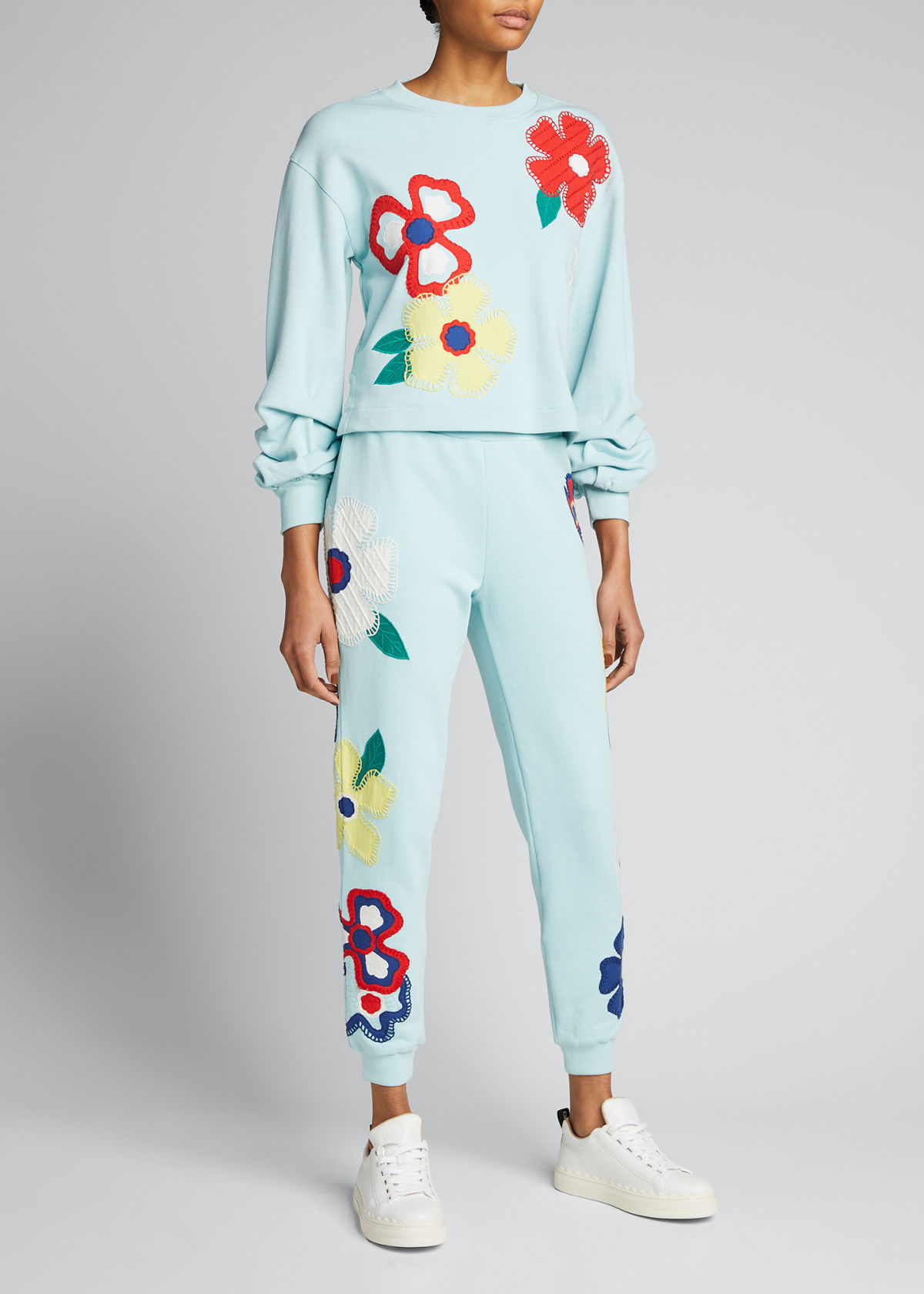 Alice And Olivia Cottons NYC FLORAL-EMBROIDERED SLIM JOGGER PANTS