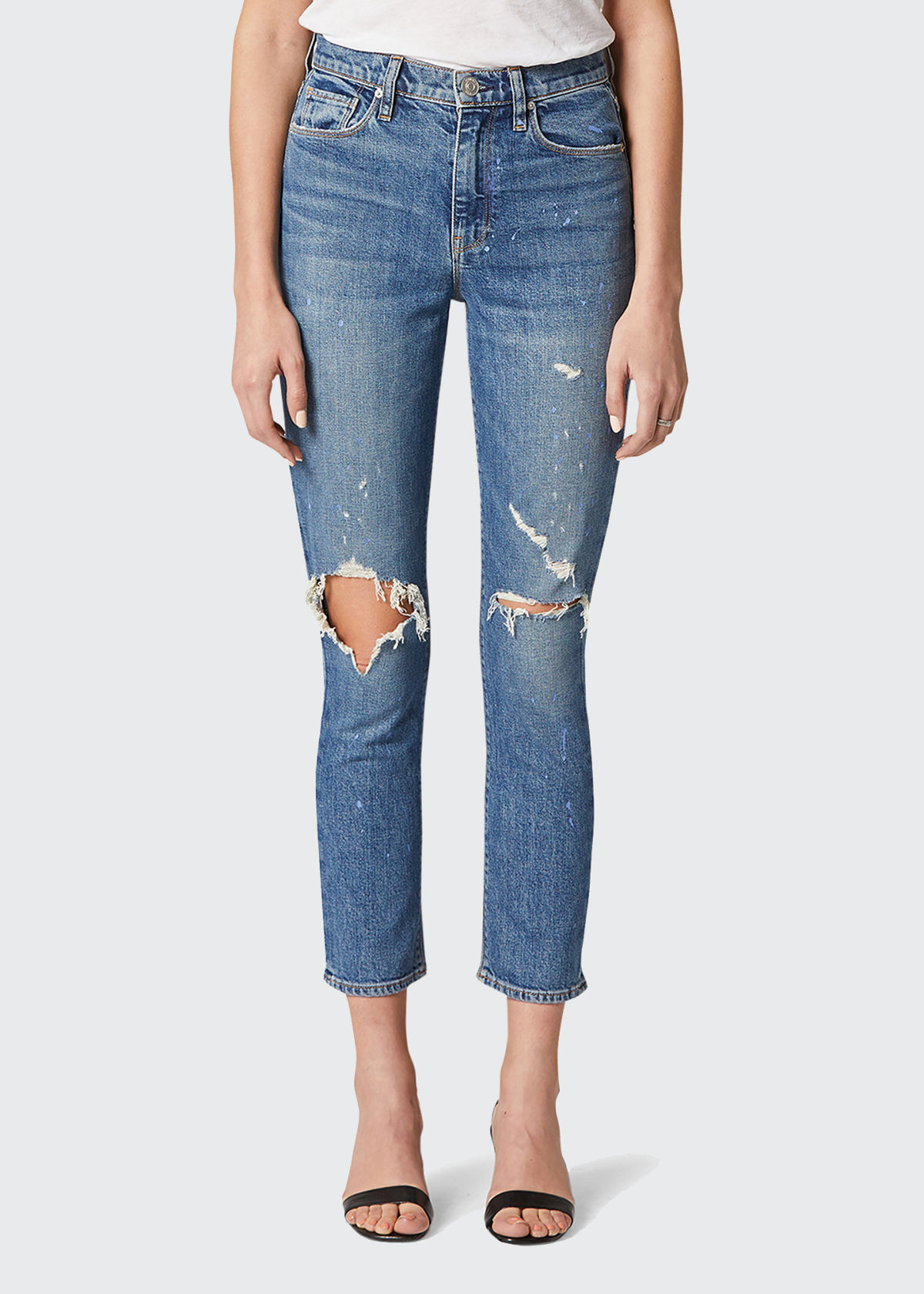 Hudson HOLLY HIGH-RISE CROP STRAIGHT JEANS WITH PAINT SPLATTER