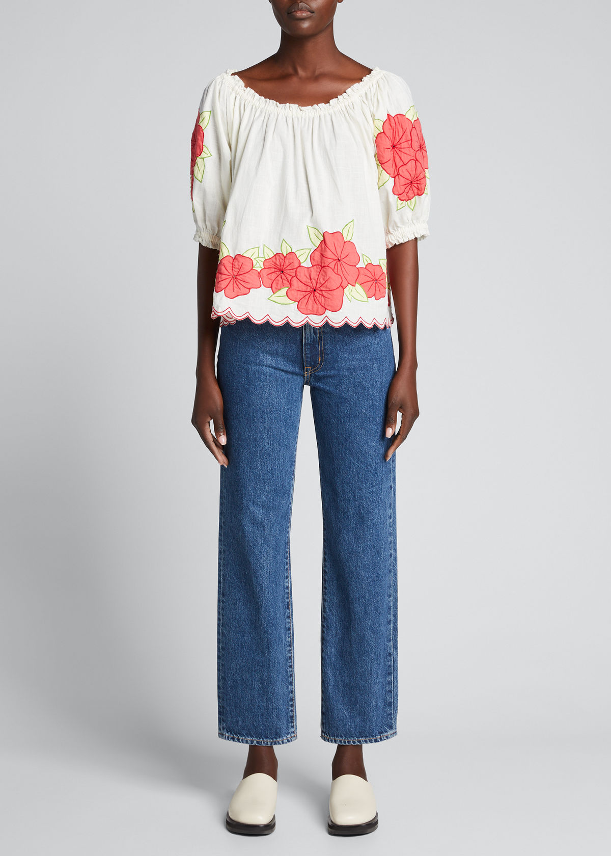 The Great The Applique Floral Garland Top In Cream Wred