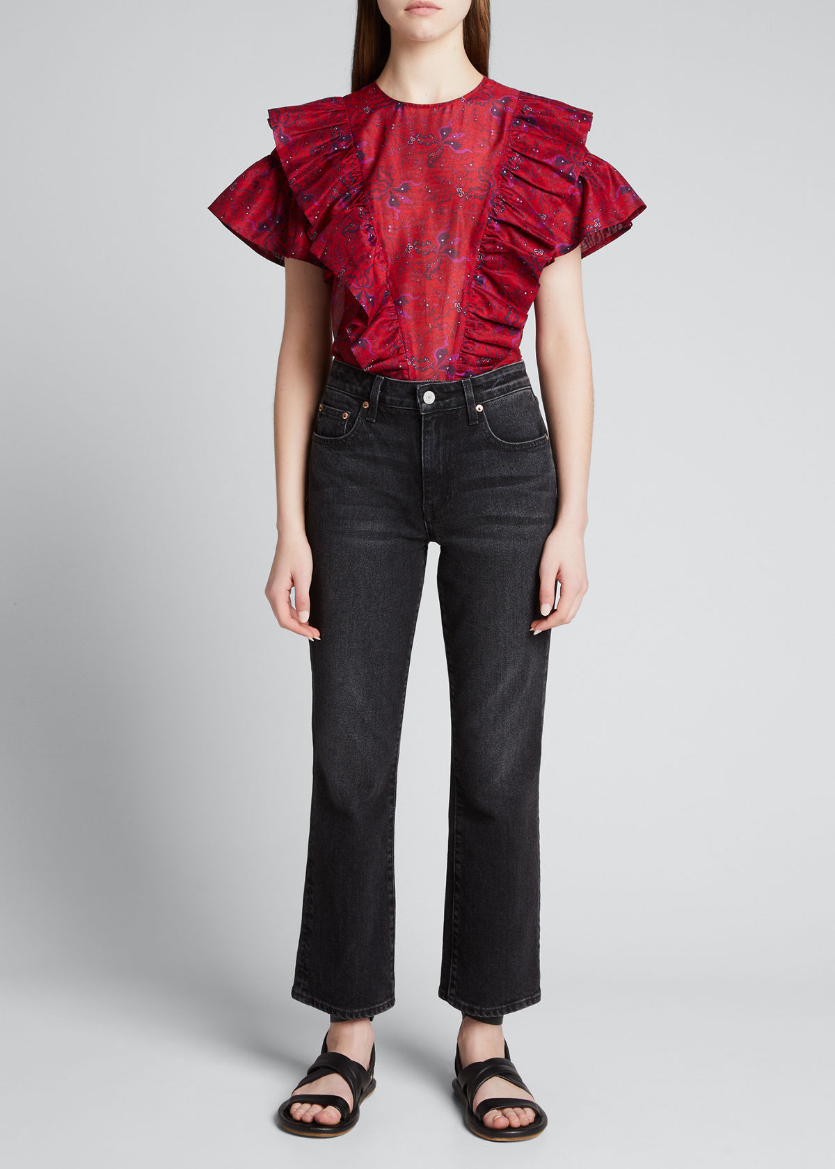 Les Coyotes De Paris Tina Structured Floral Ruffle Top In Red Graphic Flowe