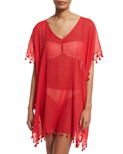 Amnesia V-Neck Caftan Coverup, Chili Red