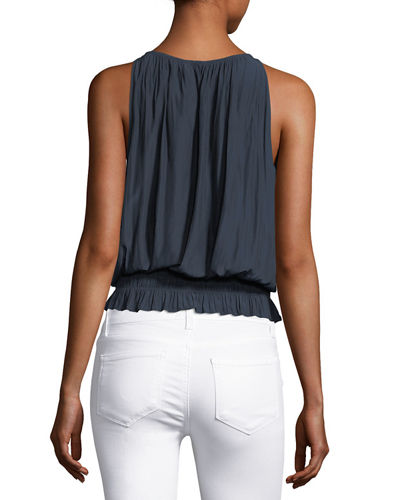 Lauren Sleeveless Smocked-Waist Top