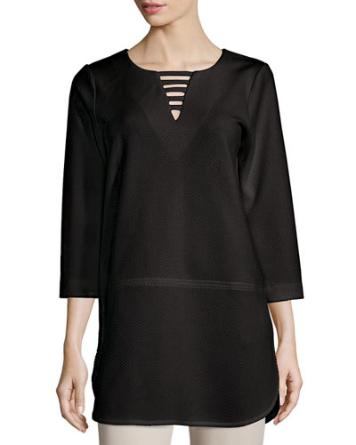 Plus Size 3/4-Sleeve Lattice-Trim Tunic