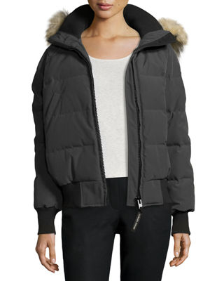 CANADA GOOSE SAVONA HOODED QUILTED BOMBER JACKET, DAMAGEDGRAPHITE, GRAPHITE