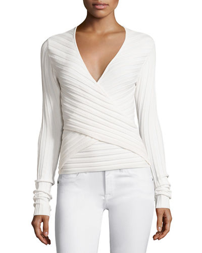 Titania Ribbed Wrap-Front Top