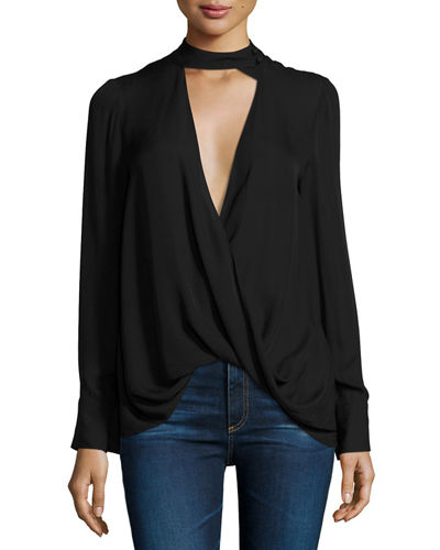 Long-Sleeve Draped Silk Charmeuse Blouse