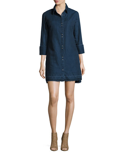 186b48221a J Brand Bacall Chambray Tunic Shirtdress