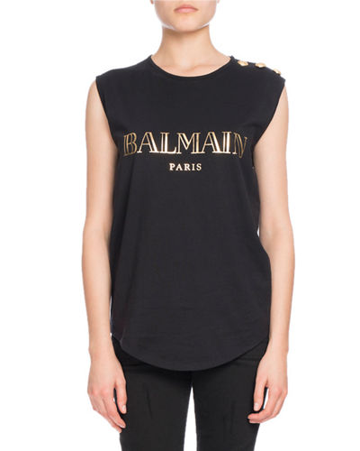 Button-Shoulder Logo Muscle Tee