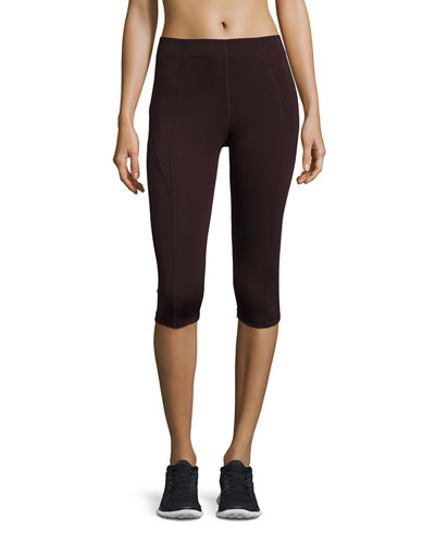 Paneled Mid-Rise Capri Leggings