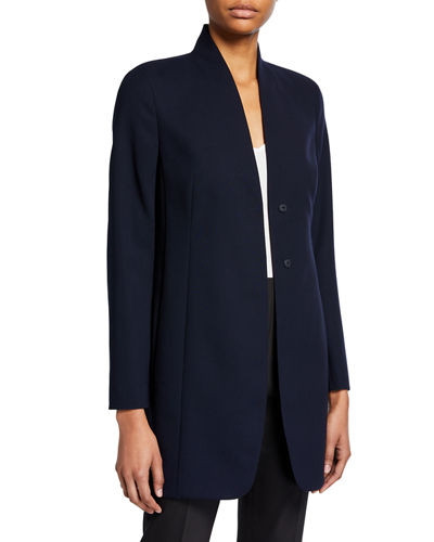 Stretch Wool Collarless Blazer Jacket