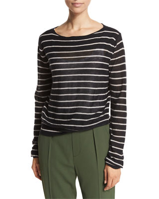 Prada Striped Bateau-Neck Sweater