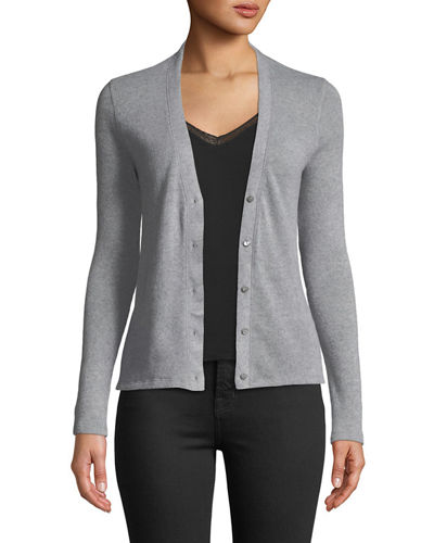 Button-Front Fitted Cashmere-Wool Cardigan