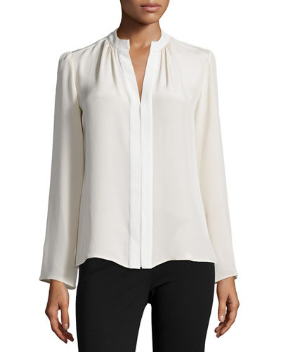 Long-Sleeve Slim-Fit Blouse