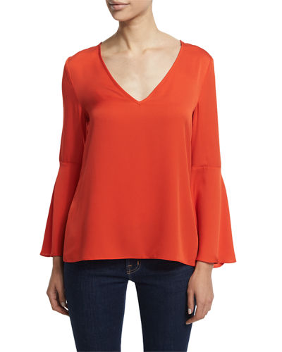 Long Flutter-Sleeve A-Line Blouse