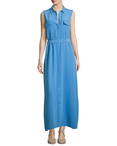 Major Sleeveless Button-Front Maxi Shirtdress