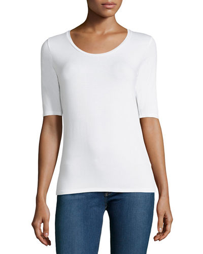 Soft Touch Long-Sleeve Scoop-Neck Tee