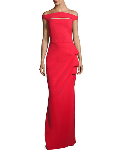 Off-the-Shoulder Jersey Gown