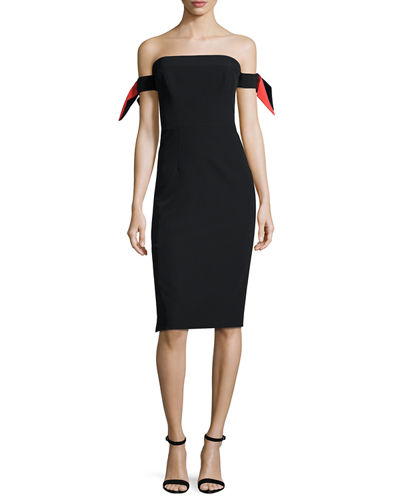 Strapless Bow-Sleeve Italian Cady Midi Dress