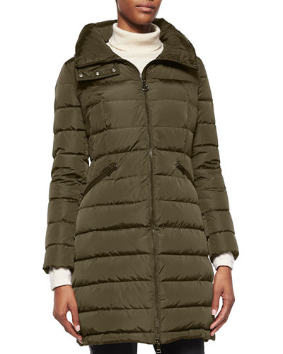 Flammette Stripe-Quilted Mid-Length Puffer Coat 9b3fe52d2d