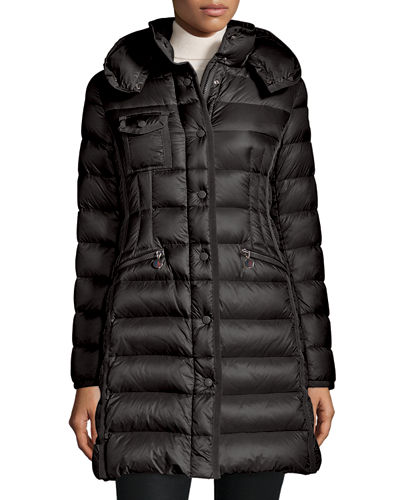 997bf0ce2b72 Hermine Hooded Stripe-Quilted Puffer Coat Quick Look. BLACK. Moncler