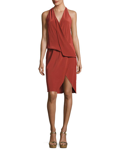 Draped Silk Halter Dress