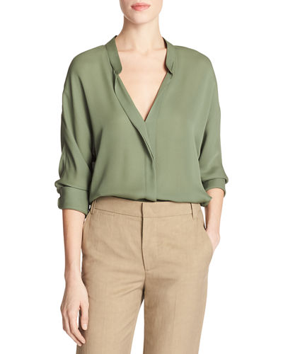 d7111411db7ba Vince Banded-Collar Concealed-Placket Silk Blouse