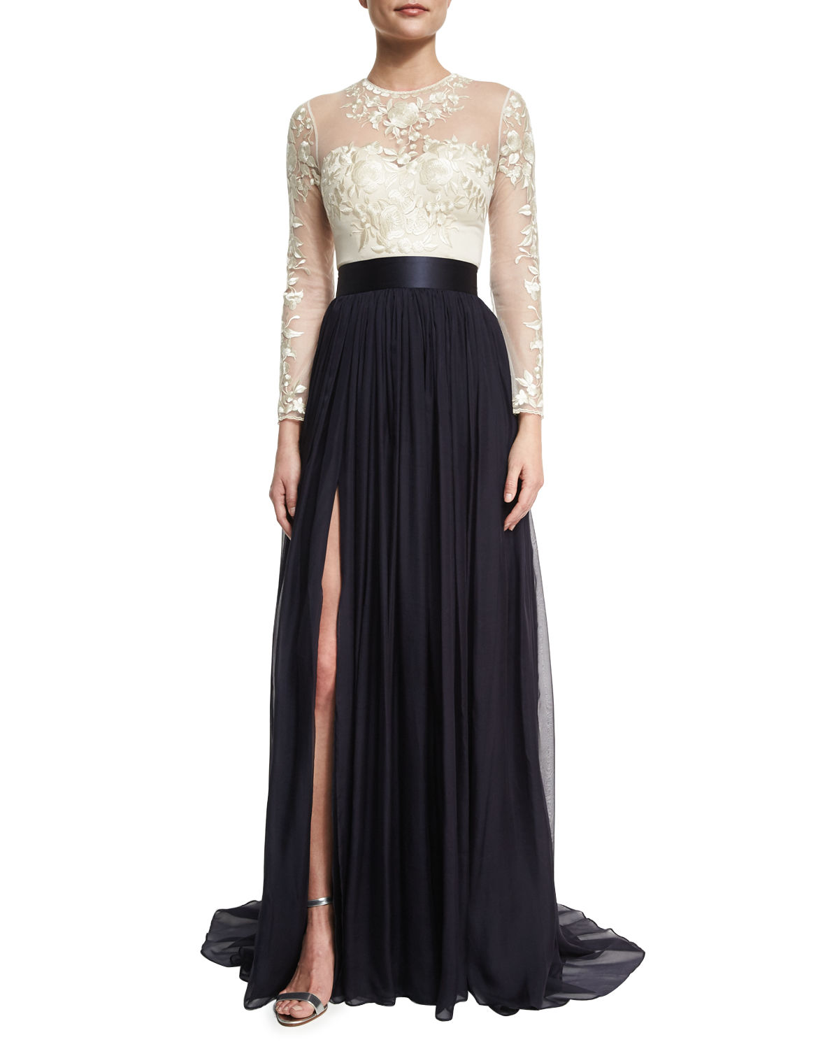 Floral-Embroidered Chiffon-Skirt Gown