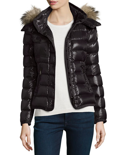 Armoise Shiny Quilted Jacket w/Fur Hood Quick Look. Moncler