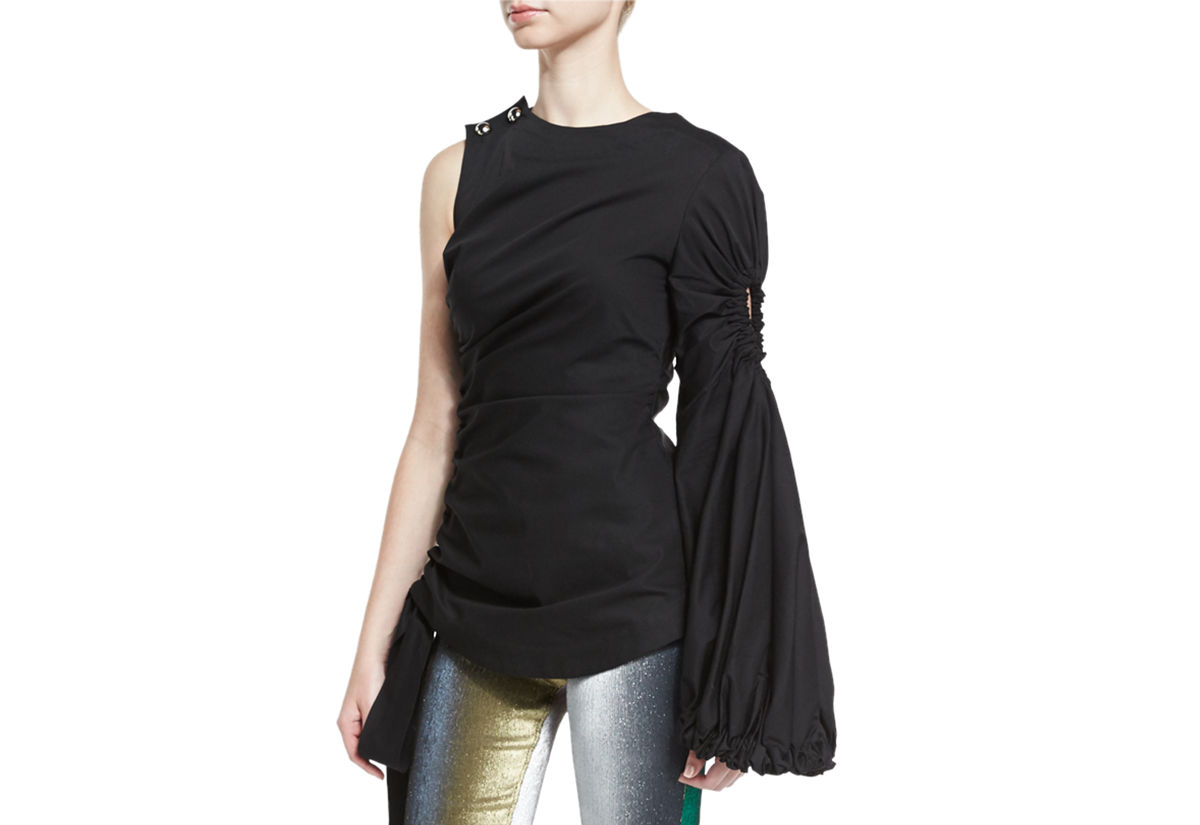 Ruched One-Sleeve Top, Black