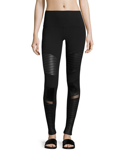 High-Waist Moto Sport Leggings with Mesh Panels