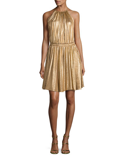 Metallic Jersey Racerback Cocktail Dress