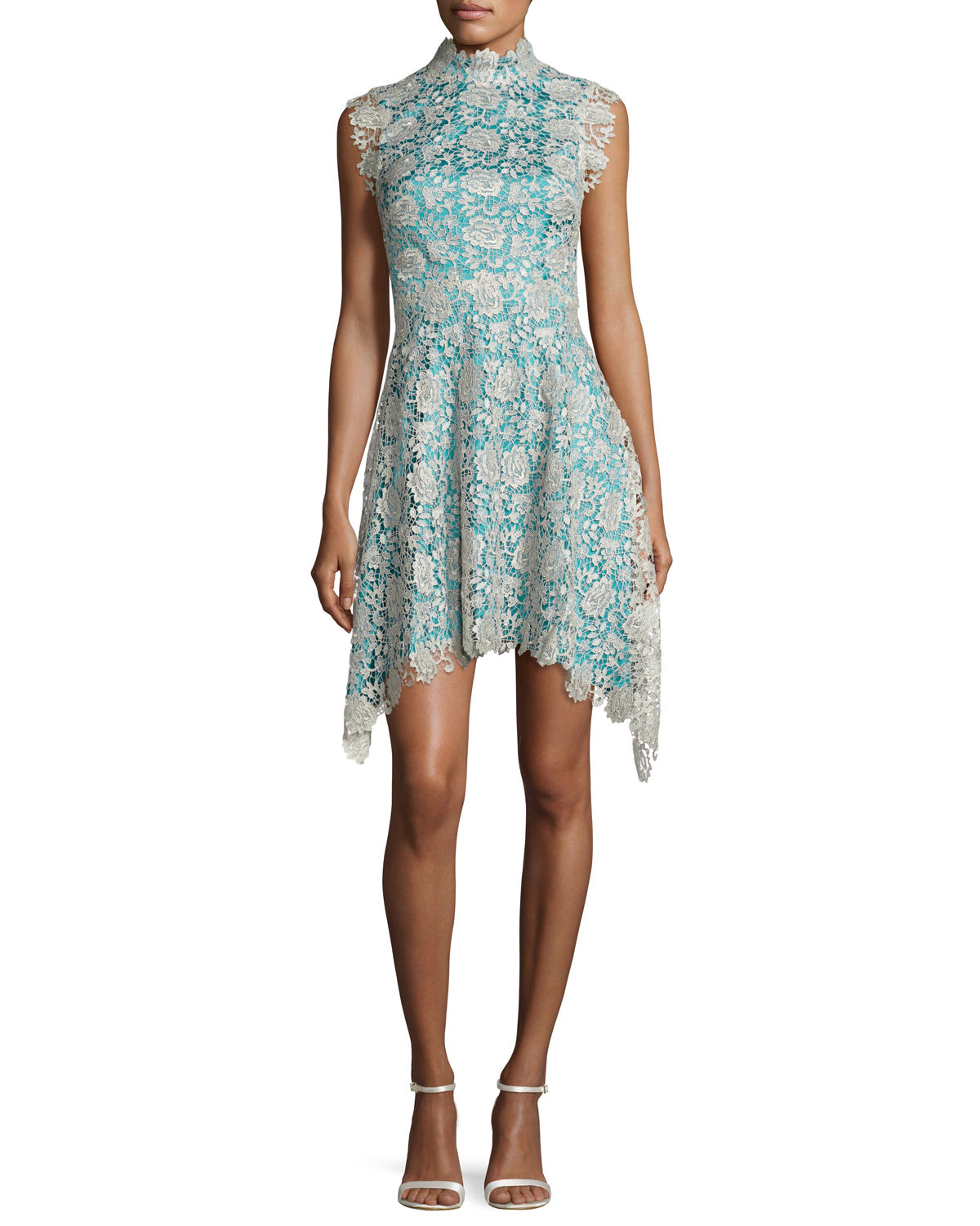 Izzy Sleeveless Floral Lace Fit-and-Flare Dress, Silver/Blue