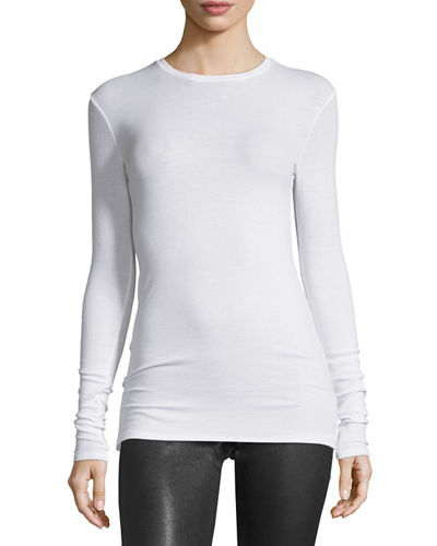 Long-Sleeve Crewneck Jersey Top