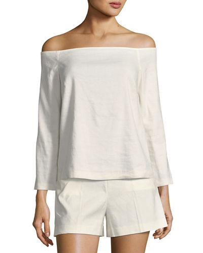 Aprine Off-the-Shoulder New Stretch Linen Top