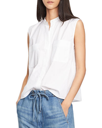 Side-Slit Cropped Shell Top