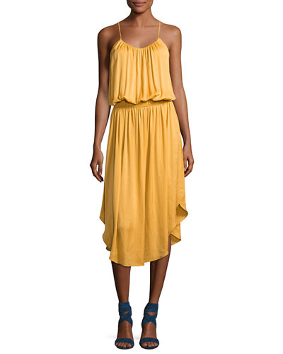 Sleeveless Shirred Jersey Midi Dress