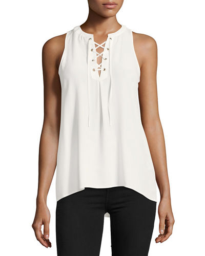 Deasia Lace-Up Silk Tank
